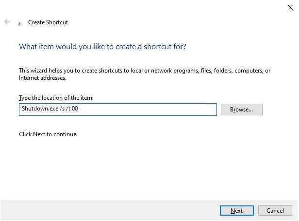 Creates the shortcut to the shutdown button
