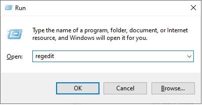 Enter the registry editor
