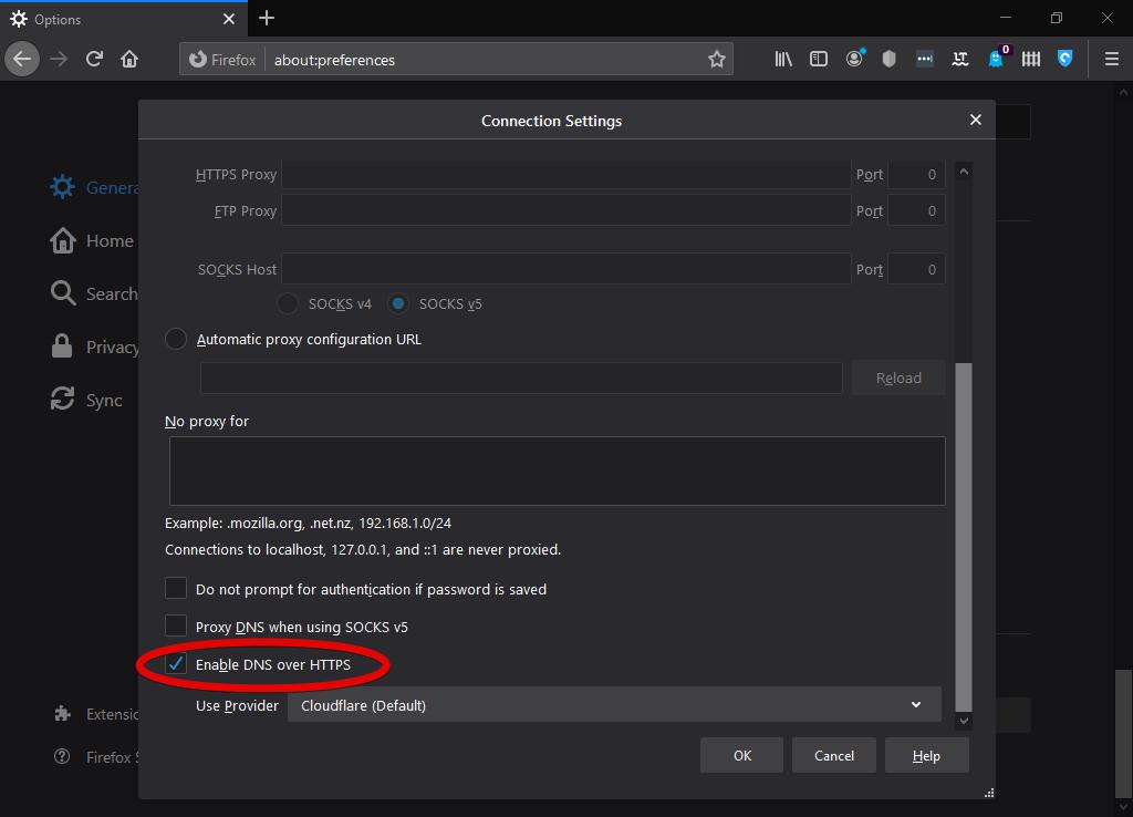 Enable DoH in Mozilla Firefox