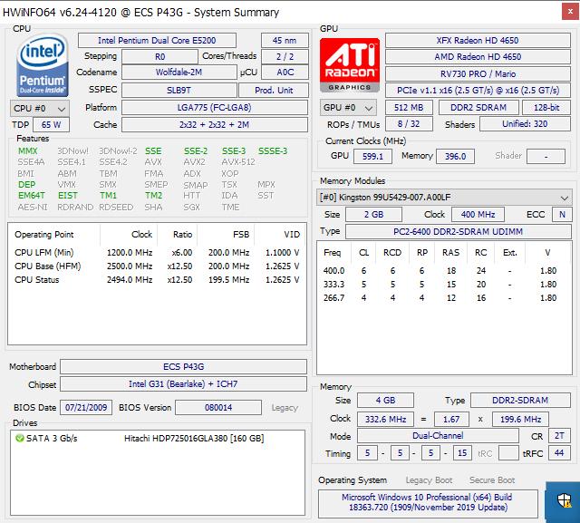 Hwinfo64 showing CPU and GPU information